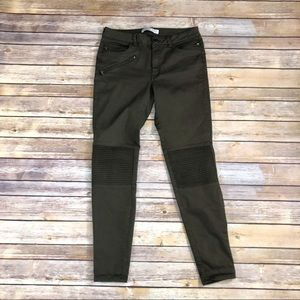 Zara green moto zipper skinny pants size 6
